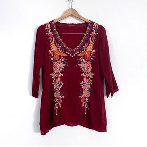 Johnny Was Burgundy Embroidered Blouse Tunic Top